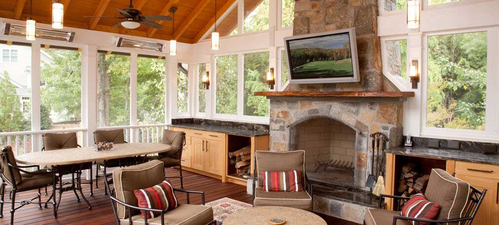 Dunn-Right Contracting - enclosed porch and fireplace